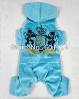 High Quality Light Blue Pet Dog Clothing Velvet Crown Sign Jumpsuit Hoodies Dog Clothes