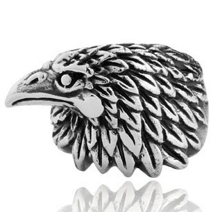 New arrival free shipping punk retro stainless steel goshawk eagle head animal rings for men 2013 unique design(China (Mainland))