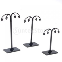 Free Shipping 3X Black Detachable Acrylic Earrings Holder Display Stands