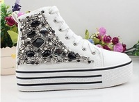 Black and white, Free shipping.Women Platform canvas shoes,handmade shoes,Tall style sneaker shoes for lady.