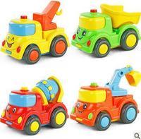 4pcs smile face car toy Construction vehicles Tow truck + mixer truck + Truck + Excavator Kids toys Children's toys Inertia car