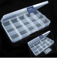 Adjustable 15 Compartment Plastic Clear Storage Box for Jewelry Earring Tool Container [22870|01|01]