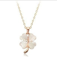 Free Shipping Small pure and fresh and lucky girl nude opal  Four Leaves Clover  Pendant necklace  JCK-246