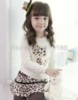 Free shipping 5sets/lot baby girls leopard clothing set long sleeves t shirt+leopard skirt+leggings 3pcs kids suit