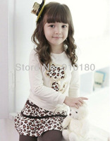 Free shipping 5sets/lot baby girls leopard clothing set long sleeves t shirt+leopard skirt+leggings 3pcs kids suit
