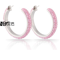 Wholeslae Fashion Pink Crystal Jewelry Earrings Free Shipping