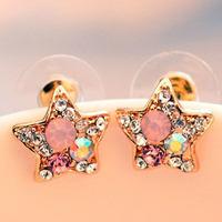 Min Order 12$ high quality, vintage rhinestone crystal star stud earrings, fashion earring ES0014