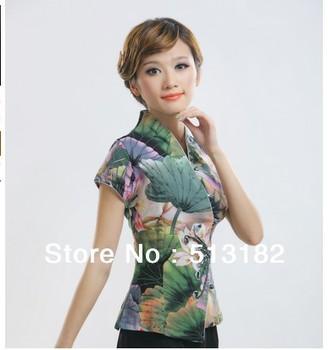 High quality 2013 women's fashionlotus beaded Chinese-style top, tradition short sleeve shirt HS012/green/ M,L,XL,XXL,XXXL,XXXXL