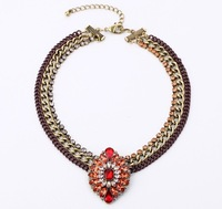 COL054 2013 New j Flower crew pendants Necklaces Chunky topshop colares bijuterias joias max colar