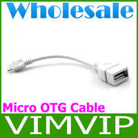50Piece/Lot Free Shipping micro usb otg cable for android tablet gps mp3 phone-White+Wholesale
