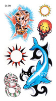Free shipping color tattoo stickers dolphins 10