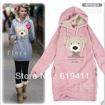 East Knitting AS-017 new hoodie long top pullover, winter coat women's coat,hoodie Cute teddy bear Hot Sale Free Shipping