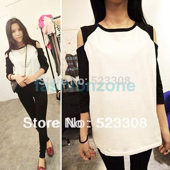 2014 New Fashion Korean Women's Top Off Shoulder 1/2 Sleeve T-shirt Casual Wear 12209 #04