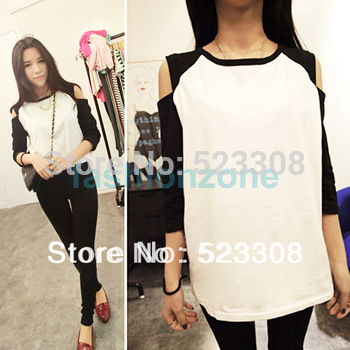 New Fashion Korean Women's Top Off Shoulder 1/2 Sleeve T-shirt Casual Wear 12209