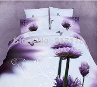 100% cotton satin lavender reactive printed 3D bedding set use home