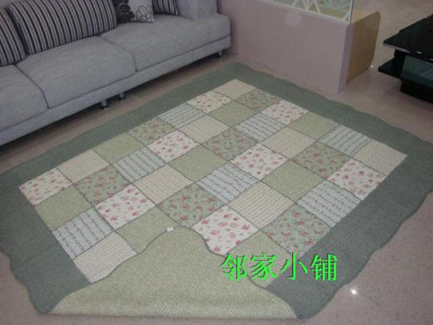 Green plaid 100% cotton quilting fabric big slip-resistant mats carpet baby play mat general(China (Mainland))