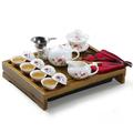 Frete grátis Ordoviciano conjunto de chá em cerâmica yixing kungfu do jogo de chá 17pcs bandeja de chá de madeira maciça (China (continente))