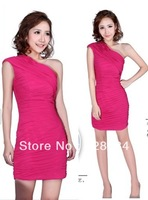 Star design clothing short one shoulder dress evening dress thin buttock party dress