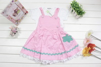 Girls dress/White top+ pink suspender dress/Casual style