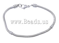 FREE SHIPPING 5Strands/Lot  Elegant Jewelry Stainless Steel European Chains Bracelets 3mm 8.5 inch