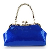 Free Shipping  2013 New Fashion Bright Patent Leather Sshoulder Portable Bridal Package