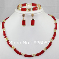 Noblest ! Red Ruby Link Necklace Bracelet earring Set  Fashion jewelry