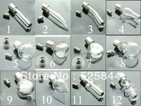 Free ship !! 500pcs/lot mixed glass vial pendant seals O rings screw cap perfume essential oil bottle rice art