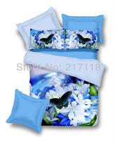4pcs 100% cotton satin 3D printed bedroom bedlinen duvet cover set bedding set