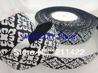 50 Yards/roll 1 inch Width Damask Ribbon Grosgrain Ribbon for Hair Bows Hair Accessories Free Shipping