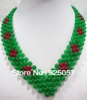 Beautiful Handmade Green Jade Beads Necklace  Fashion jewelry