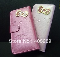 Flip Bowknot Hello kitty Leather Case for iphone 4g 4s with Stand + Card Slot + retail box+ Free shipping