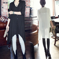 2013 New Fashion Korean Women's Long Pattern Irregular Style Pure Colour Blouse Shirt Tops Lady # L034861