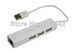 wholesale 10pcs/lot high qulaity 10/100Mbps 1 Port USB Network With 3 Port USB Hub to RJ45 Ethernet Lan Adapter Card hot sale(China (Mainland))
