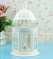 Fashion home rustic wrought iron glass cutout lantern mousse princess real decoration lamp bird cages for weddings