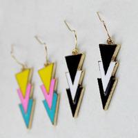Min Order 12$ 2013 new arrival, vintage triangle enamel stud earrings, fashion earring, ES0013