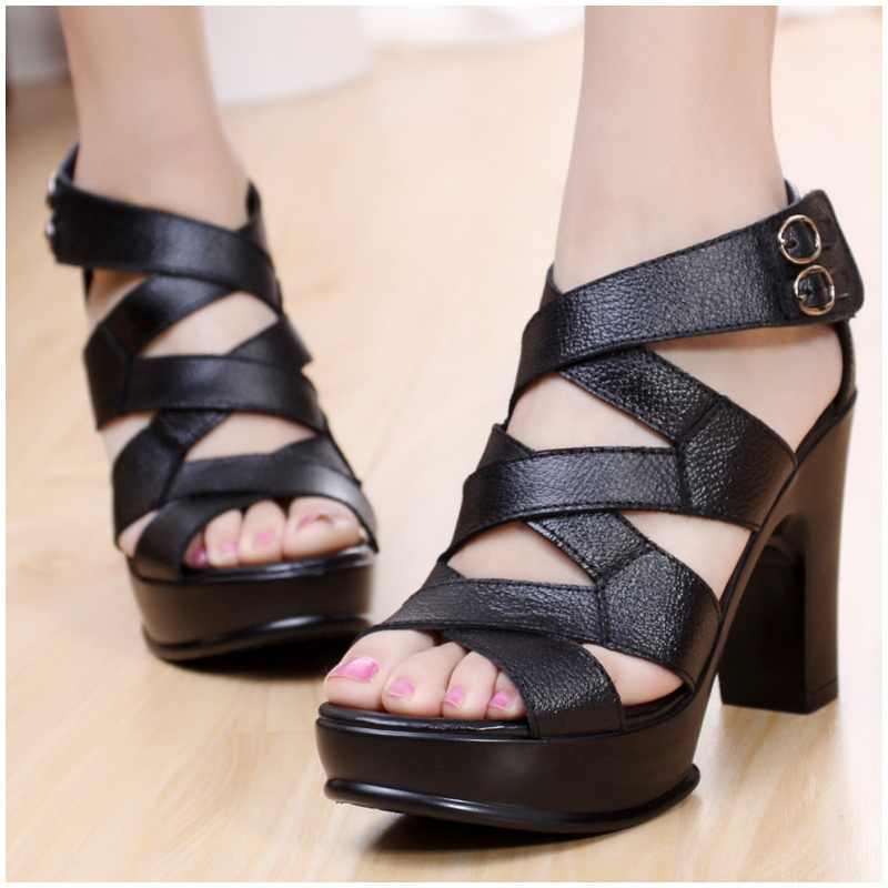 2013 fashion summer sandals platform cowhide genuine leather ultra high heels open toe thick heel sandals female(China (Mainland))
