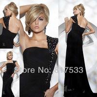 black gemstone one shoulder evening dress celebrity fashions designer dresses one shoulder a line floor length sexy zipper