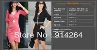 Korea Ruched Pencil Slim Women's Deep V Mini Dress OL Office Lady Design Style     free shipping