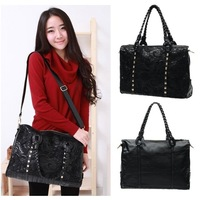 Hot New Fashion Women Black PU Leather Rivets Tote Shoppers Handbag Shoulder Bags