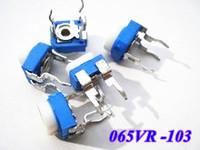 Free shipping 100pcs/lot  065 Variable Resistor ,Horizontal 10K (103)  blue white adjustable resistance