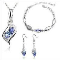 Free Shipping White Gold Plated Necklace/Earrings,Crystal Set JCK-250