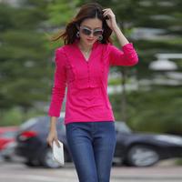 Hot selling 4xl plus size clothing  fashion 2013 classic version of ruffle hem long-sleeve t-shirt sarafan fashion top 201