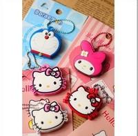 Free Shipping Kawaii Cartoon Hello Kitty/Melody/Doraemon Silicon Key Caps Covers Keys Keychain Case Shell Novelty Item Retail