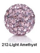 Free Shipping Shamballa beads Wholesales, Pave Clay Disco Crystal Ball Beads 10mm, #212 Light Amethyst ,  20pcs/lot
