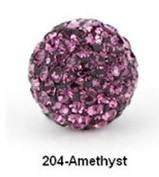 Free Shipping Shamballa beads Wholesales, Pave Clay Disco Crystal Ball Beads 10mm, #204 Amethyst ,  20pcs/lot