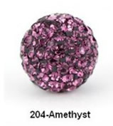 Free Shipping Shamballa beads Wholesales, Pave Clay Disco Crystal Ball Beads 10mm, #204 Amethyst ,  20pcs/lot