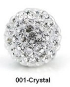 Free Shipping Shamballa beads Wholesales, Pave Clay Disco Crystal Ball Beads 10mm, #001 Crystal,  20pcs/lot