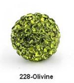Free Shipping Shamballa beads Wholesales, Pave Clay Disco Crystal Ball Beads 10mm, #228 Olivine,  20pcs/lot