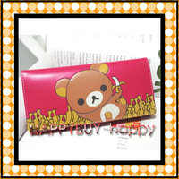 Rilakkuma Cartoon Pu leather Wallet Kids Purse Hotsale Free Shipping