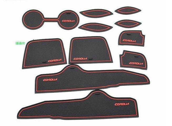 Free shipping(11/p),2011-2012 Toyota Corolla gate slot pad,door mats,carpets,cup set,cushion,case,cover,auto products,parts(China (Mainland))